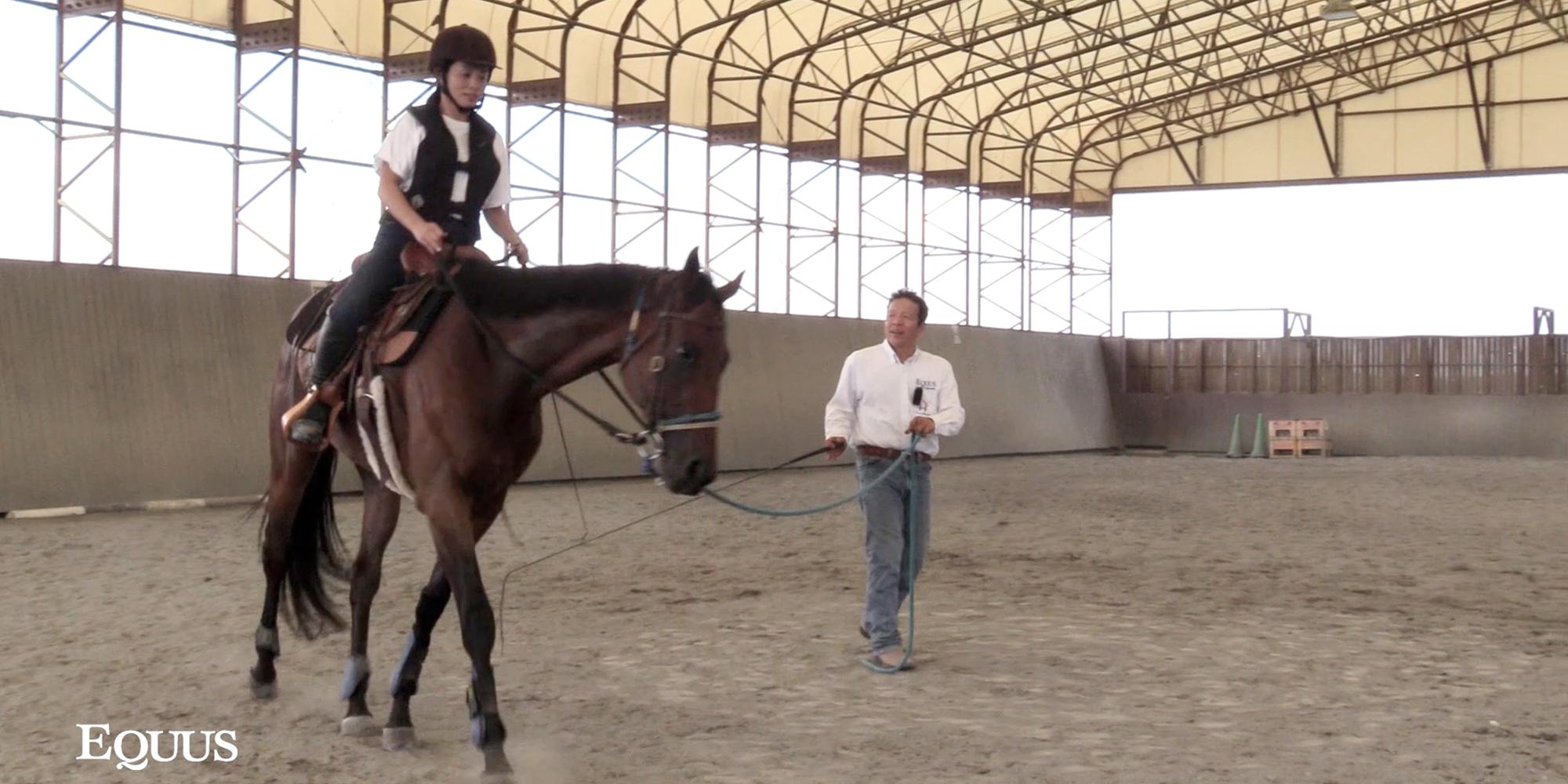 宮田朋典氏のグラウンドワーク講座_ゆったりとした速歩の維持と安定した騎座のトレーニング